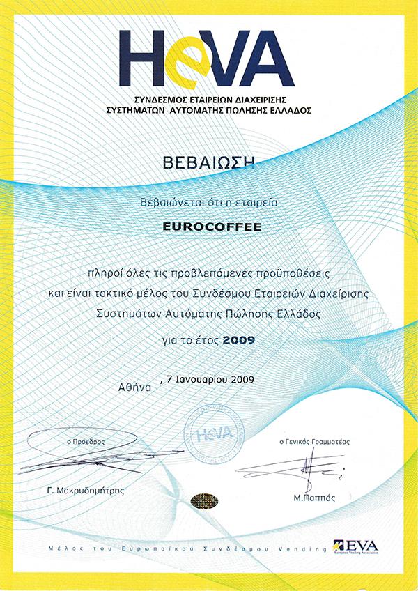 Certificates Vending Machines Eurocoffee